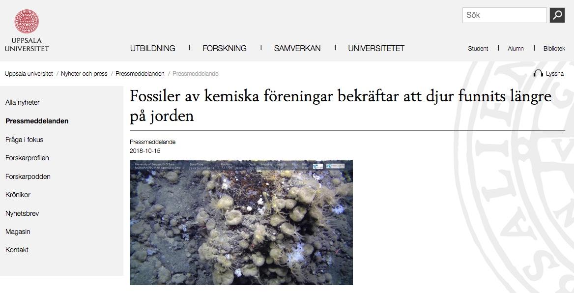 Upsala University on the Nature Eco Evo paper