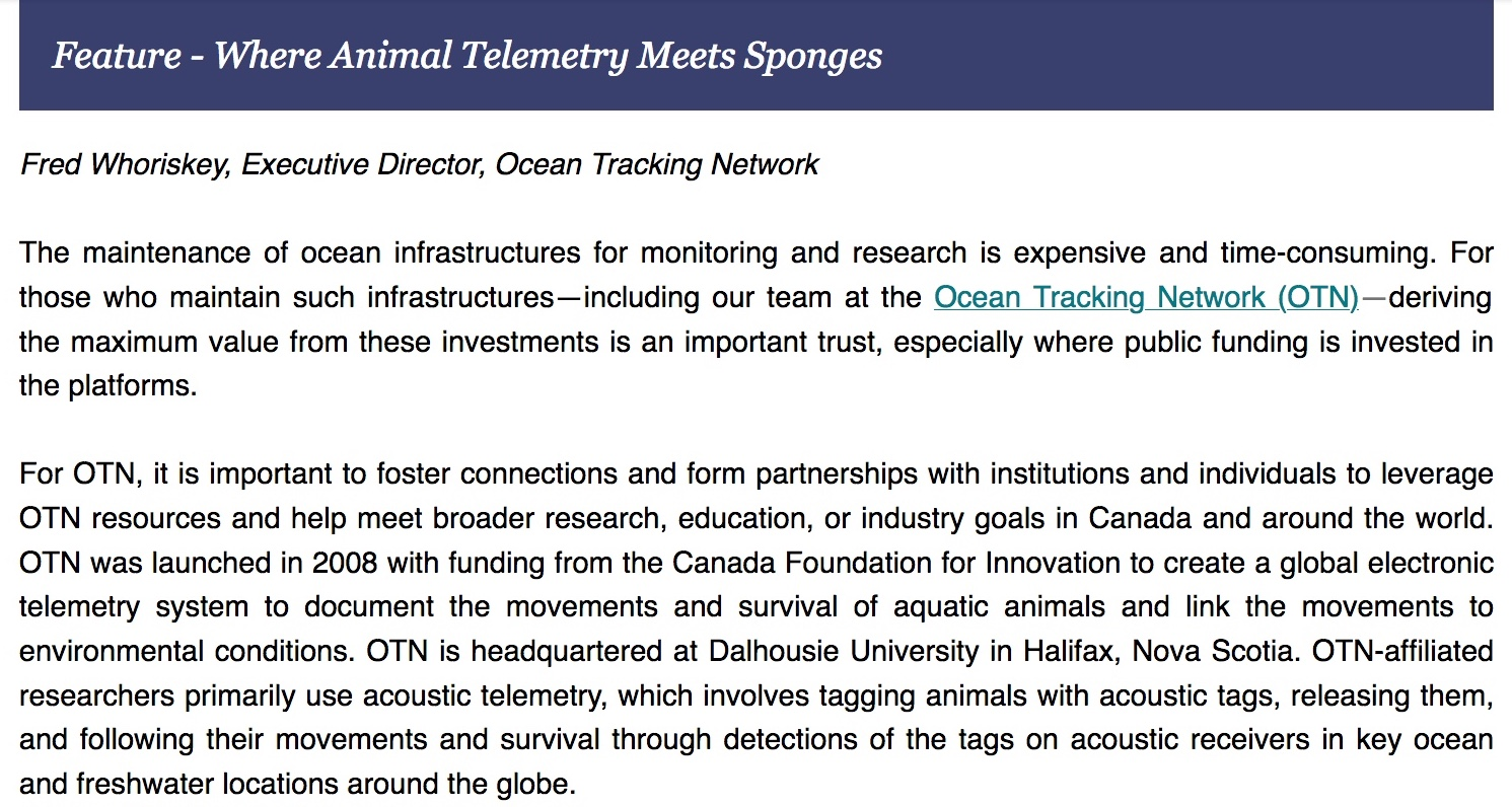 Piece about OTN and project SponGES in the Ocean Best Practices Newsletter